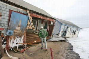 Hurricane Sandy caused major damage along Rhode Island's southern shore. Photo by Kathy Borchers, The Providence Journal